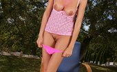 In Focus Girls Juliette Sunshine Tease Dazzling Brunette Strips And Spreads In Armchair Outdoors