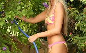 In Focus Girls Sharon Garden Toying Heavenly Blonde Sheds Bikini And Dildos Pussy In Garden