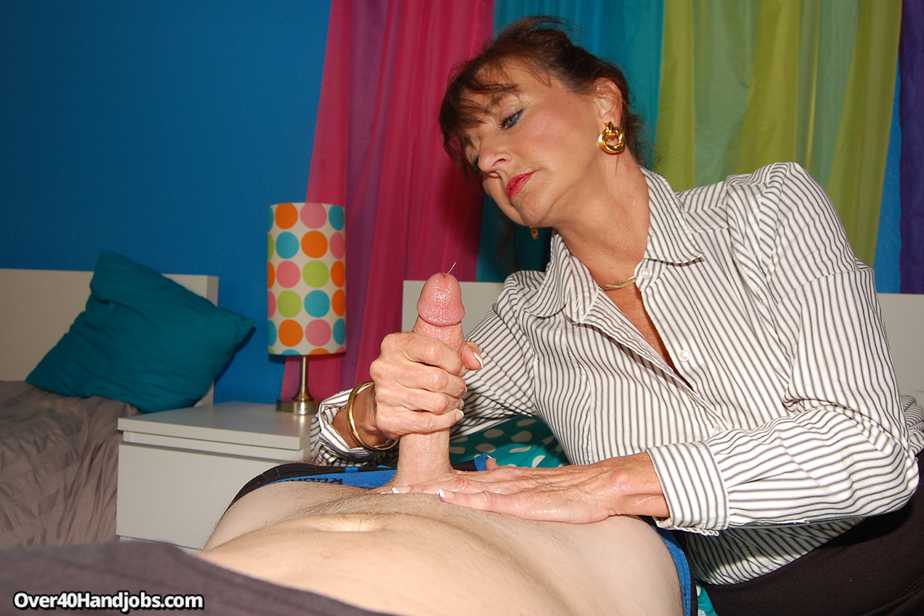 mum with sons cock in hand