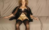 Older Woman Sex Videos Matured Brunette In Her Black Nighties Masturbating Lustfully On The Sofa