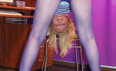 Nylon Passion Blue Pantyhose Blonde Teen Girl In Blue Pantyhose