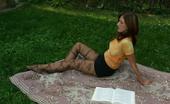 Nylon Passion 442875 Nylon Outdoor Girl Enjoys Her Pantyhose Outdoor