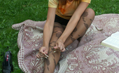Nylon Passion 442875 Nylon Outdoor Girl Enjoys Her Pantyhose Outdoor