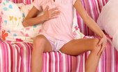 Hanna's Honeypot 444678 Hanna Shocking Pink2 Lovely Blonde Cutie Teasingly Strips And Spreads Pink Pussy