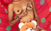 Ebony Candy Hot Black Doll Licking And Sitting On Dildo