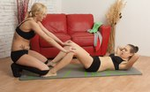 Lesbian Sport Videos Yoga Strapon Between The Boobs And In The Pussy
