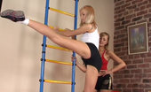 Lesbian Sport Videos Sporty Girl Does Exercises Under Lesbian Control