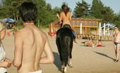 X Nudism Naked Teen Riding A Horse At The Beach Turns Heads