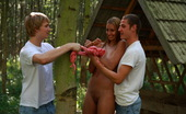 Teen Dorf Iva & Augustin & Aleksej In The Middle Of The Woods, This Cute Teen Turns Into A Dirty Nymph. She Practically Orders These Two Studs To Tied Her Hands To The Tree And Use Her In Every Way Possible.