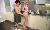 His Mommy Pretty Gf Done By His Mom Making Dinner And Pie Gradually Evolves Into Taboo Lesbian Sex In The Kitchen With Toys