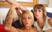 His Mommy Tattooed Gf Does His Mom Hot Tattooed Girlfriend Could Not Resist The Advances Of Her Guys Lesbian Mother