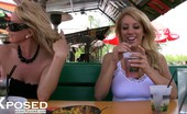 Aziani Xposed Heather Summers Hotties, Heather Summers And Rachel Aziani, Have Fun Flashing For The Camera While Having Afternoon Drinks At The Bar!