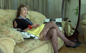 Matures and Pantyhose Emilia & Rolf Hung Guy Fucks His Old Seamstress In Patterned Tights For His New Trousers