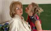 Matures and Pantyhose Harriet & Florence Usual Lesson Ends Up With Strap-On Fucking For Freaky Mom In Nylon Tights