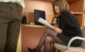 Matures and Pantyhose Elinor & Morris Freaky Mom Getting Her Black Hose Covered With Cum After Hot Sex In Office