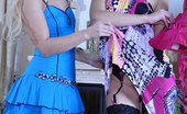 Licksonic Blanch & Barbara Stockinged Sapphic Gals Strip Their Dresses For Moist Licks And Slits Play