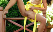 Met Art Met Art Valenthi A Bright Yellow Halter Dress Compliments Eva Jane'S Beautiful Olive Skin Tone As She Bares Her Spectacular Body. Eva Jane Fabrice Valenthi