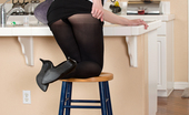 Anilos Anilos Sarah Shevon Classy Housewife Strips Down To Her Pantyhose In The Kitchen