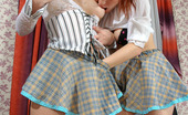 Ladies Kiss Ladies Sophia & Marion Cute Schoolgirls Licking Their Perky Nipples Before Dildoing Virgin Pussies Ladies Kiss Ladies
