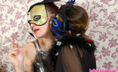 Ladies Kiss Ladies Sophia & Marion Lewd Lesbian Babes In Masks Spicing Up The Party With Vigorous Muff-Diving Ladies Kiss Ladies