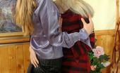 Ladies Kiss Ladies Maria & Ninon Passionate Lesbian Gals Savoring Kiss-N-Lick Frenzy Right At Art Exhibition Ladies Kiss Ladies