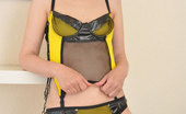 Stocking Aces Paula Teases In Black & Yellow Lingerie And Stockings Stocking Aces