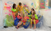 CFNM 18 Dressed 18yo Girls Undress A Guy And Paint His Naked Body CFNM 18