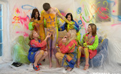 CFNM 18 Five Girls Painting And Fucking A Naked Guy For CFNM Fun CFNM 18