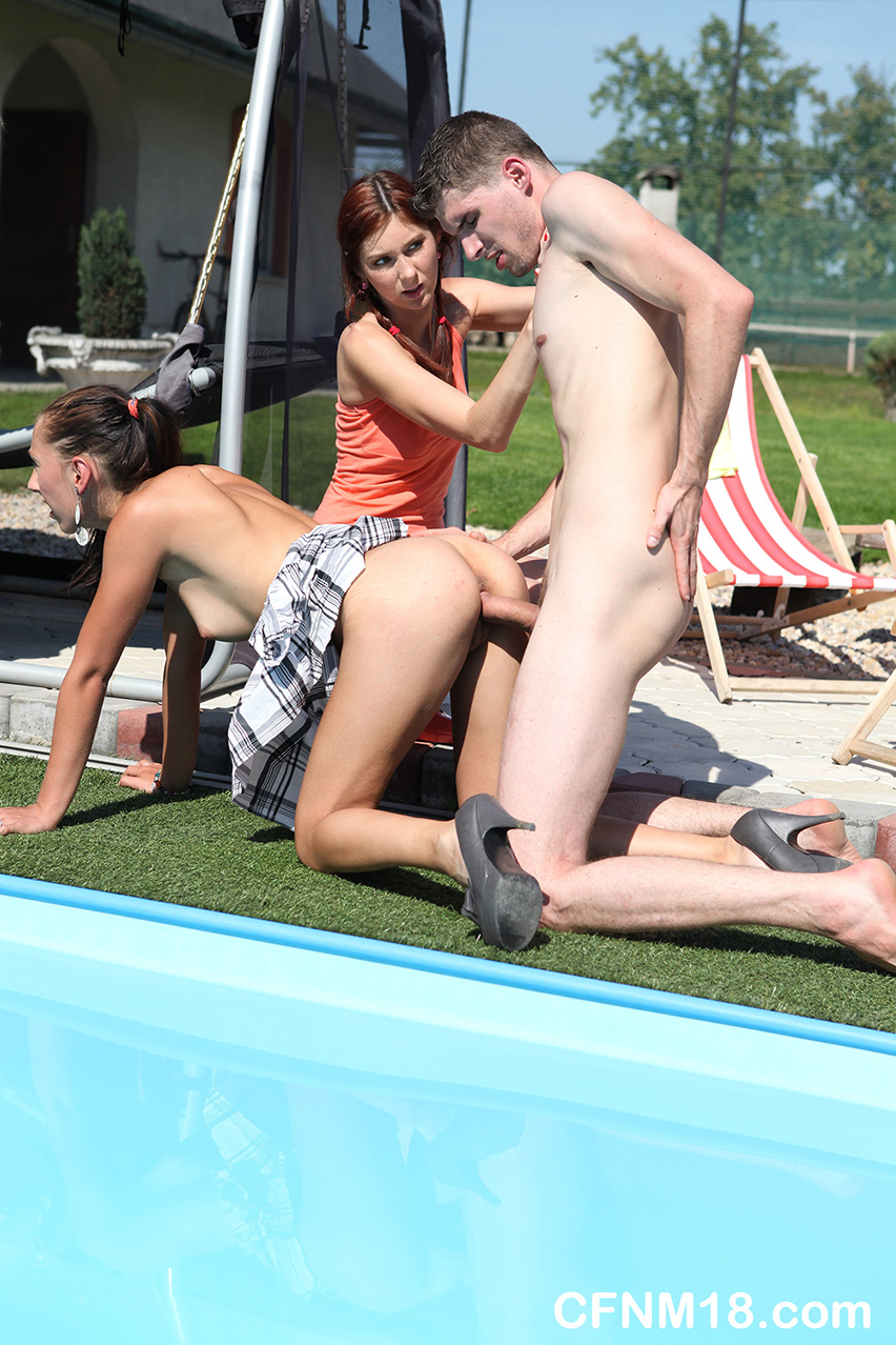 CFNM 18 472481 A Group Of Hot Teens Tortures And Fucks 2 Guys By The Pool CFNM 18