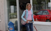 Holey Fuck Katerina Teenie Blonde Enjoys Pumping Gas In The Public Restroom Holey Fuck