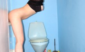 Holey Fuck Tina Gabriel Cute Chick Sucking A Big Dick Through Hole In The Toilet Holey Fuck