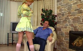 Horny Old Gents Christina & Hubert Curvy Blond Girl Wearing Pretty Knee-Highs Making An Old Baldy Hard For Her Horny Old Gents