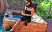 Pure Smoking Smoking Poolside Beauty0Sultry Sex Kitten Karli Montana Walks Around The Pool Holding A Cigarette Pure Smoking