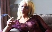 Pure Smoking Smoker Relaxes 0Blonde Beauty Lonnie Smokes While Sitting In Her Favorite Chair Pure Smoking