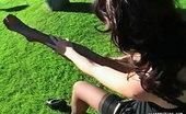 Pure Smoking 473854 Smoking Hot LegsKarlie Montana Smokes By Her Pool Adjusting Her Sheer Black Thigh Highs Pure Smoking