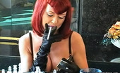 Pure Smoking 473892 Cigarettes And Black Satin GlovesRed-Haired Vixen Rubee Smokes Her Cigarette While Wearing Sexy Lingerie And Black Satin Glove Pure Smoking