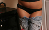 Alyssa Roxi Alyssa Pulls Down Her Jeans And Shows Off Her Tight Ass In Tiny Black Booty Shorts Alyssa Roxi