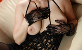 AV Erotica Valeria Brunette With Huge Tits Posing In Sexy Black Lingerie And Stockings AV Erotica