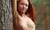 AV Erotica 475987 Kesy Red Small Breasted Teen Kesy Posing Completely Naked In The Woods AV Erotica