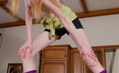 Ema's Place Beautiful Blond Teen Exposing Her Ultra Long Legs Ema's Place