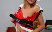 Cuties In Stockings Kitty Poses In Red Stockings And Santa'S Hat On Camera Cuties In Stockings