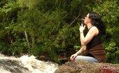 Smoking Mina Smoking Babe Enjoys A Cigarette By A Waterfall Smoking Mina