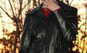 Smoking Mina IRL Smoking Babe Lights Up A Misty In A Long Leather Coat Smoking Mina
