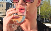 Smoking Mina Redhead Mina In Shades Smoking Frenzy Drinking Wine Smoking Mina