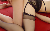 Stocking Stars Sexy Redhead Giving Footjob In Her Stockings Stocking Stars