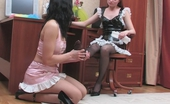 Nylon Feet Line Penelope & Melanie Voluptuous French Maids Servicing Their Smashing Feet Right On The Floor Nylon Feet Line