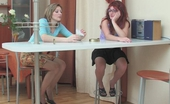 Nylon Feet Line Gwendolen & Isabela Vivacious Babe Caressing Perky Tits With Her Feet In Slight Sheen Pantyhose Nylon Feet Line