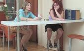 Nylon Feet Line Gwendolen & Isabela Vivacious Babe Caressing Perky Tits With Her Feet In Slight Sheen Pantyhose Nylon Feet Line