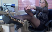 Nylon Feet Line Vivian Heated Sec Has A Lunch Break Stroking Her Nyloned Feet And Her Perky Tits Nylon Feet Line