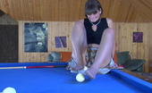 Nylon Feet Line Gloria Freaky Chick Plays Billiard With The Help Of Her Yummy Feet Clad In Nylon Nylon Feet Line